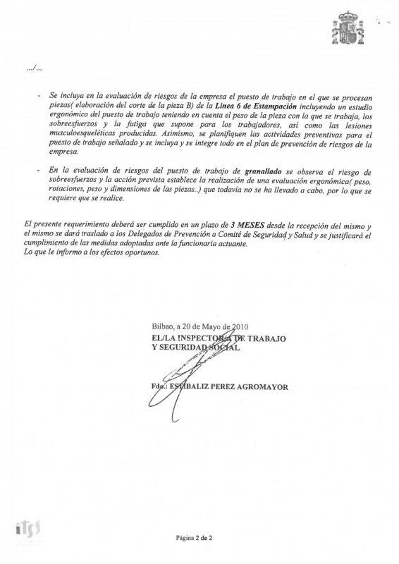 2010 requerimiento de ispeccion de poste B L6 y egonomia Granalla PAG 2