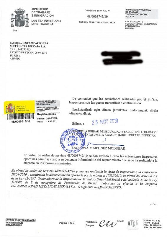 2010 requerimiento de ispeccion de poste B L6 y egonomia Granalla