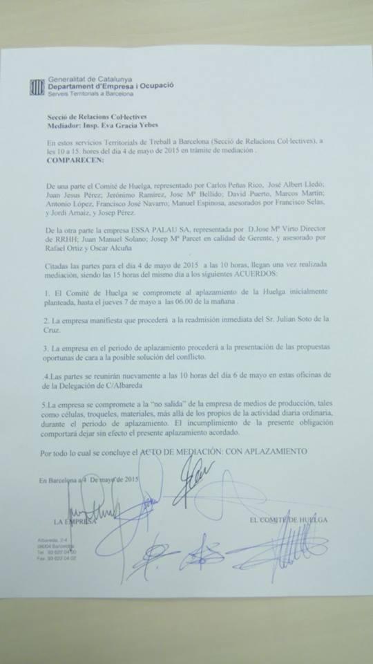 aplazamiento huelga estampaciones sabadel