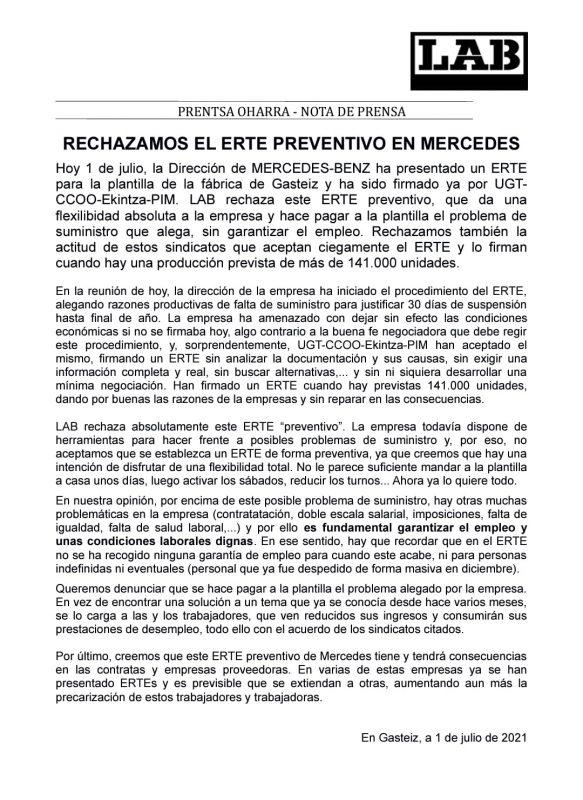 Comunicado LAB Mercedes: RECHAZAMOS EL ERTE PREVENTIVO EN MERCEDES