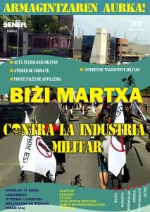 Cartel 8ª Bizi Martxa contra el gasto y la industria militar.