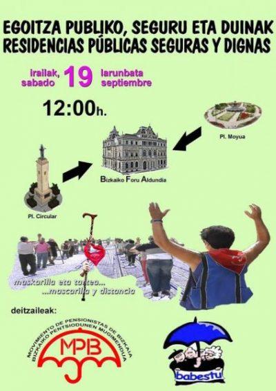 Manifestación en Bilbao por una residencias públicas, seguras y dignas