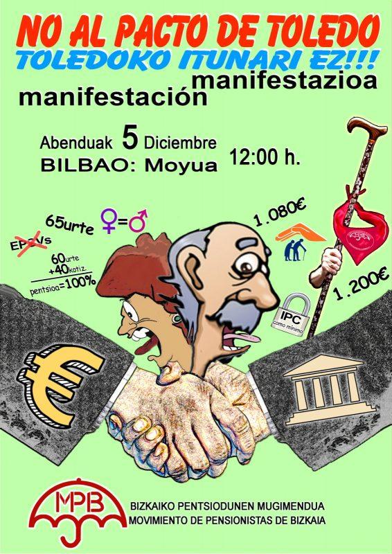 CGT-LKN hace un llamamiento a participar en las manifestaciones convocadas por el Movimiento de Pensionistas contra el Pacto de Toledo