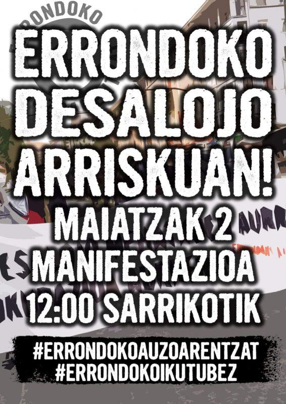 El 5 de mayo quieren desalojar Errondoko